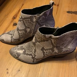 Exotic leather ankle booties NEW